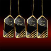 Etiquetas de oro negro con cadena de oro — Vector de stock
