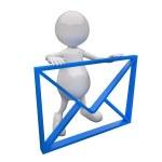 3D με μπλε ταχυδρομείο σημάδι — Φωτογραφία Αρχείου