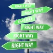 Road sign green with words right way - Stock Photo