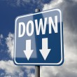 Road sign blue with word Down — Stockfoto