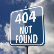 Road sign blue with words 404 Not Found — Stockfoto