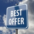 Road sign blue with words BEST OFFER — Stock Photo