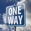 Road sign blue with words One Way — Stock Photo