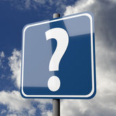 Road sign blue with question mark — Stock Photo