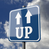 Road sign blue with word UP — Stock Photo