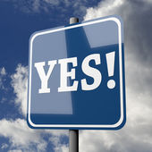 Road sign blue with word YES — Stock Photo