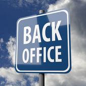 道路标志蓝与单词背办公室 — 图库照片