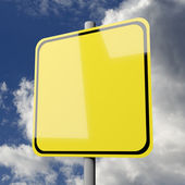 Road sign yellow blank on blue sky background — Stock Photo