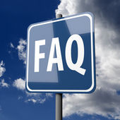 Road sign Blue with word FAQ — Stock Photo