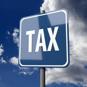 Road sign Blue with word Tax — Foto de Stock