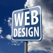 Road sign Blue with words Web Design — Stock Photo