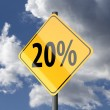 图库照片: Road sign Yellow with text 20 percent