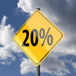 Stok fotoğraf: Road sign Yellow with text 20 percent