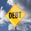 Road sign Yellow with word Debt — Stock Photo