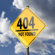 Road sign Yellow with words 404 Not Found — Stock Photo