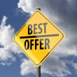 Stockfoto: Road sign Yellow with words Best Offer