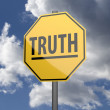 Stock Photo: Road sign Yellow with word Truth