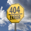 Road sign Yellow with words 404 Error  — Stock Photo