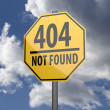 Road sign Yellow with words 404 Not Found — Stok fotoğraf