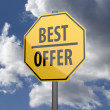 Road sign Yellow with words Best Offer — Stock Photo