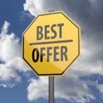 silniční značka žlutá s nejlepší nabídkou slova — Stock fotografie