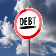 Road sign White Red with word Debt — Stockfoto
