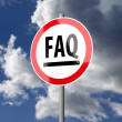 Road sign White Red with word FAQ — Stock Photo