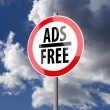 Road sign White Red with words Ads Free — Stok fotoğraf