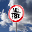 Road sign White Red with words Ads Free — Stock Photo