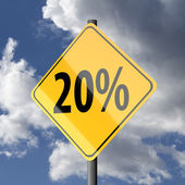 Road sign Yellow with text 20 percent — Stock Photo