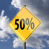 Road sign Yellow with text 50 percent — Stock Photo