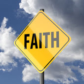 Road sign Yellow with word Faith — Photo