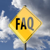 Road sign Yellow with word FAQ — Stock Photo