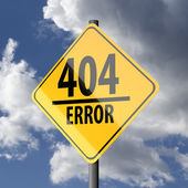 Road sign Yellow with words 404 Error — Stockfoto