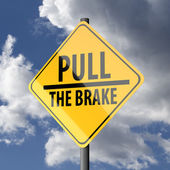 Road sign Yellow with words Pull the Brake — Stock Photo