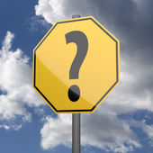 Road sign Yellow with Question Mark — Stock Photo