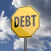 Road sign Yellow with word Debt — Stockfoto
