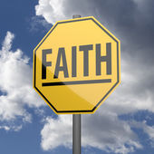 Road sign Yellow with word Faith — Stock Photo