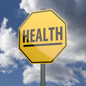 Road sign Yellow with word Health — Foto de Stock