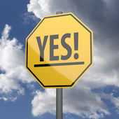 Road sign Yellow with word Yes — Stockfoto