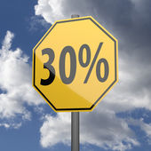 Road sign Yellow with text 30 percent — Stock Photo