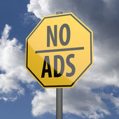 Road sign Yellow with words No Ads — Stock Photo