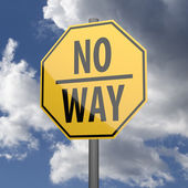 Road sign Yellow with words No Way — Foto Stock