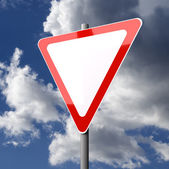 Road sign White Red Blank with Copy Space — Stock Photo