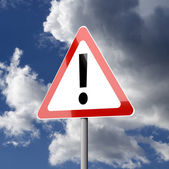 Road sign White Red Triangle with Exclamation Mark — Stockfoto