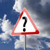 Road sign White Red Triangle with Question Mark — Stock Photo