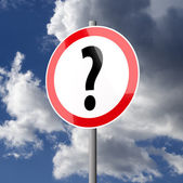 Road sign White Red with Question Mark — Stock Photo