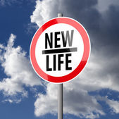 Road sign White Red with words New Life — Stock Photo