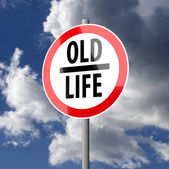 Road sign White Red with words Old Life — Stock Photo