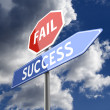 Fail Success Words on Red and Blue Road sign — Zdjęcie stockowe #26937739